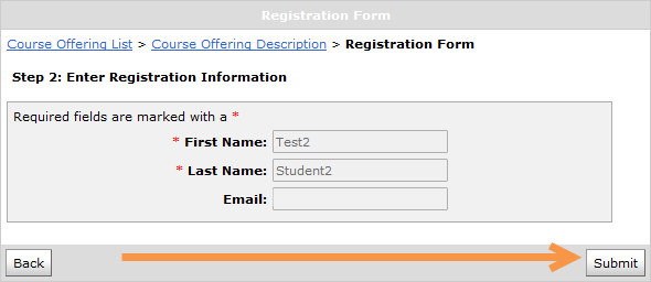 The submit button is located in the bottom right corner of the screen, under your first name, last name and email.