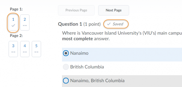 Image of new auto save interface on quiz tool