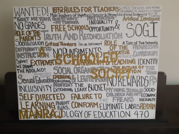 Word Cloud capturing key concepts from a fourth year education course