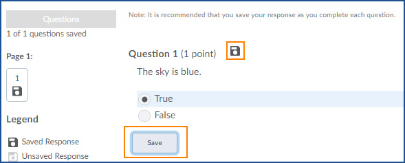image showing Save button and save icon for quiz